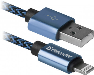 Usb кабель Defender ACH01-03T PRO USB2.0, AM-LightningM, 1m, 2.1A (синий)