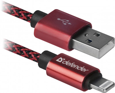 Usb кабель Defender ACH01-03T PRO USB2.0, AM-LightningM, 1m, 2.1A (красный)
