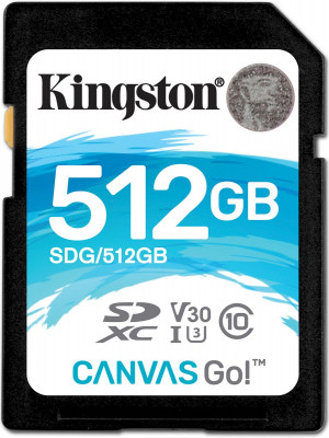 Карта памяти SDHC 512GB Kingston Class 10 UHS-I U3 V30 Canvas Go (90Mb/s)