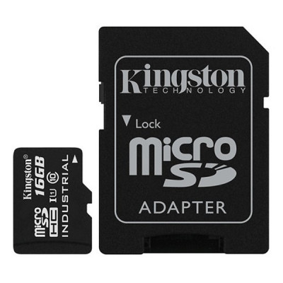 Карта памяти MicroSD 16GB Kingston Class 10 UHS-I Industrial Temp + SD адаптер