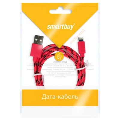 USB кабель Smartbuy для iPhone 5/5S/6/6 plus, нейлон, USB 2.0- 8 pin Lightning, 1.2 м (красный)