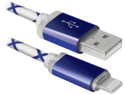 USB кабель Defender ACH03-03LT, LED, USB-Lightning 1м (голубой)