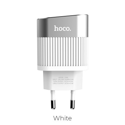 СЗУ с 2 USB выходами Hoco C40A Speedmaster, LED (белое)