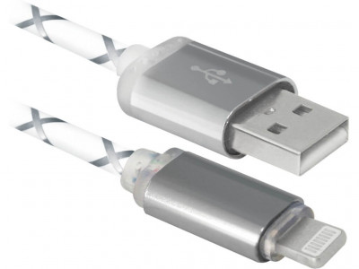 USB кабель Defender ACH03-03LT, LED, USB-Lightning, 1м (cерый)